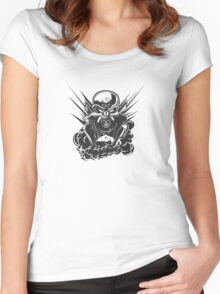 B&W metal skull with cartoon engine Women's Fitted Scoop T-Shirt