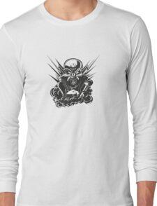 B&W metal skull with cartoon engine Long Sleeve T-Shirt