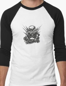 B&W metal skull with cartoon engine Men's Baseball ¾ T-Shirt