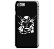 B&W metal skull with cartoon engine iPhone Case/Skin