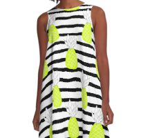 Crazy pineapple on black&white stripes A-Line Dress