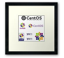 centos operating system linux sticker set Framed Print