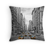 URBAN MANHATTAN 5th Avenue Taxis Throw Pillow