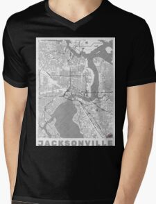 Jacksonville Map Line Mens V-Neck T-Shirt