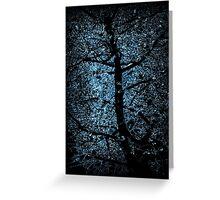 black tree on blue light Greeting Card