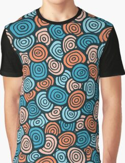 Abstract doodle seamless pattern. Simple retro blue and orange background. Graphic T-Shirt