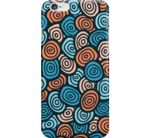Abstract doodle seamless pattern. Simple retro blue and orange background. iPhone Case/Skin