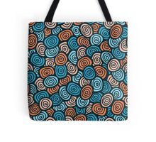 Abstract doodle seamless pattern. Simple retro blue and orange background. Tote Bag