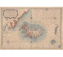 Vintage Map of Iceland (1767) Photographic Print