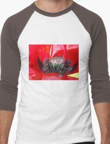 Giant red poppy Men's Baseball ¾ T-Shirt