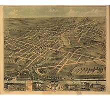 Vintage Pictorial Map of Akron Ohio (1870) Photographic Print