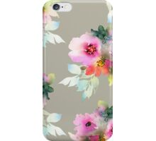 Watecolor flowers stone background iPhone Case/Skin