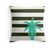 Palm tree on stripes Throw Pillow