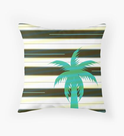 Palm tree on stripes Throw Pillow