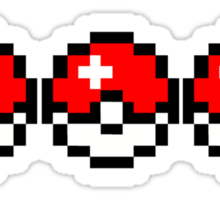 8 bit Pokeballs Sticker