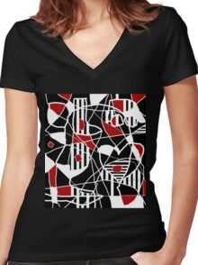 Red, black and white abstraction Women's Fitted V-Neck T-Shirt