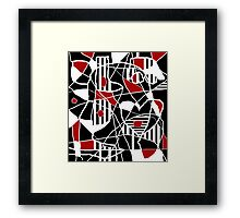Red, black and white abstraction Framed Print