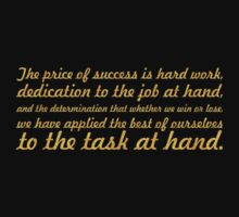 "The price of success... ""Vince Lombardi"" Success Quote Baby Tee"