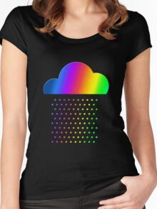 Colorful weather - we love rainbow rain! raindrop, clouds, color Women's Fitted Scoop T-Shirt