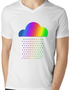 Colorful weather - we love rainbow rain! raindrop, clouds, color Mens V-Neck T-Shirt