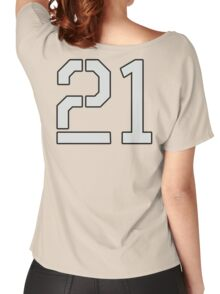 21, TEAM SPORTS, NUMBER 21, TWENTY ONE, TWENTY FIRST, TWO, ONE, Stencil, Competition, on Grey Women's Relaxed Fit T-Shirt