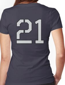 21, TEAM SPORTS, NUMBER 21, TWENTY ONE, TWENTY FIRST, TWO, ONE, Stencil, Competition, on Grey Womens Fitted T-Shirt