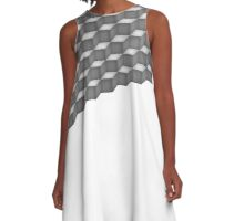 Grey Cubes Triangle A-Line Dress