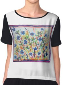 Blue Flowers Chiffon Top