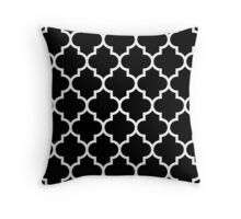Black And White Quatrefoil Pattern Throw Pillow