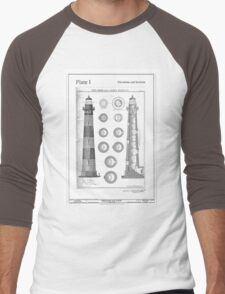 Vintage Bodie Island Lighthouse Diagram Men's Baseball ¾ T-Shirt