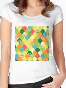 Cute,cool,colorful,egg head,pattern,fun trendy,abstract Women's Fitted Scoop T-Shirt