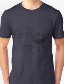 süßer kleiner niedlicher igel grillt essen koch kochmütze bbq lecker grillen kochen chef wurst würstchen  Unisex T-Shirt