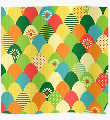 Cute,cool,colorful,egg head,pattern,fun trendy,abstract Poster
