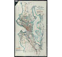 Vintage Map of Seattle Washington (1911) Photographic Print