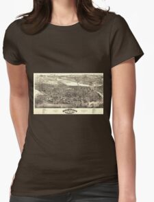 Vintage Pictorial Map of Boston (1880) Womens Fitted T-Shirt