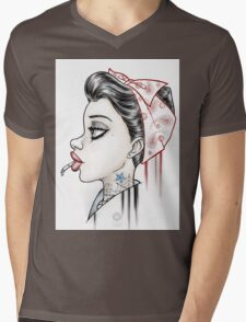 Vintage Girl Mens V-Neck T-Shirt