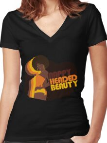"""""""Nappy Headed Beauty"""" Women's Fitted V-Neck T-Shirt"""