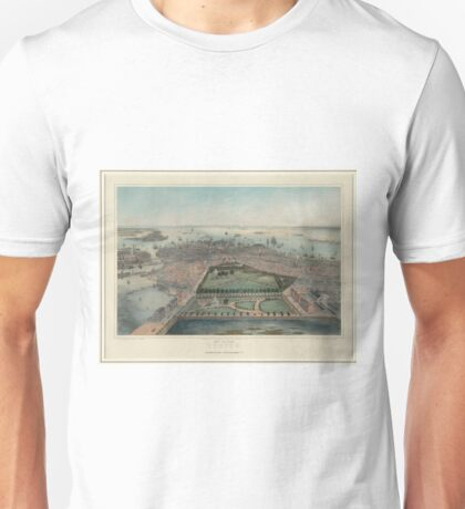 Vintage Pictorial Map of Boston MA (1850) Unisex T-Shirt