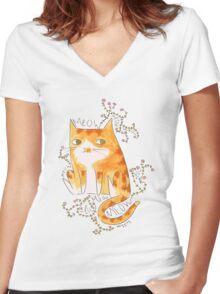 Floral Feline Women's Fitted V-Neck T-Shirt