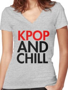 Kpop and Chill Women's Fitted V-Neck T-Shirt