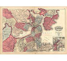 Vintage Map of Boston Massachusetts (1871) Photographic Print