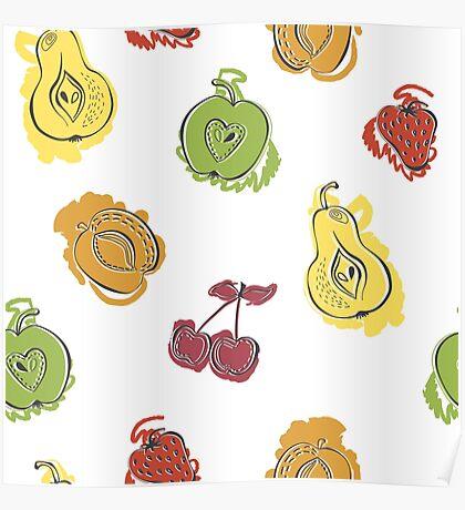 Watercolor fruit Poster