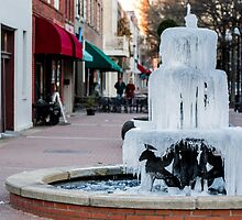 Frozen Fountain At Dusk by William Helms