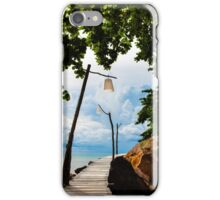 Empty wooden pier on tropical island iPhone Case/Skin