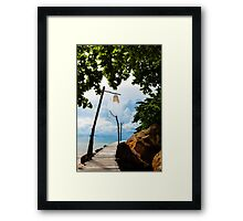 Empty wooden pier on tropical island Framed Print