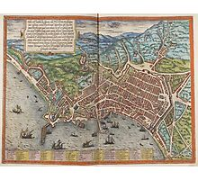 Vintage Map of Naples Italy (1572) Photographic Print