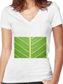 Macro shot of green leaf, nature pattern background Women's Fitted V-Neck T-Shirt