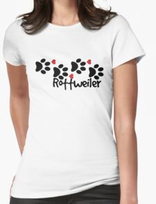DOG PAWS LOVE ROTTWEILER DOG PAW I LOVE MY DOG PET PETS PUPPY STICKER STICKERS DECAL DECALS Womens Fitted T-Shirt