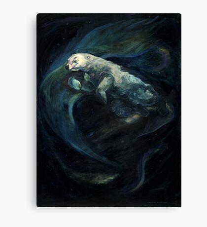Polar Bear Swimming With Northern Lights Canvas Print