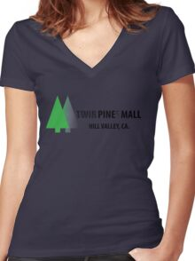 Twin Pines/Lone Pine Mall – BTTF, Optical Illusion Women's Fitted V-Neck T-Shirt